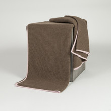 Cappuccino/Quartz Rose Purl Knit Yak Down Throw