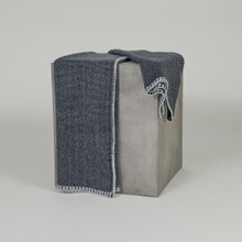 Dark Navy Bird's Eye Knit Cashmere Throw