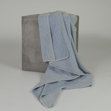 Bright blue and Light Grey Cashmere Waffle knit