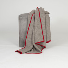 Platinum & Red Purl Knit Yak Down Throw