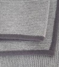 Light grey & Stone Grey Purl Knit Cashmere Throw