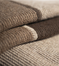 Striped Three-toned Purl Knit Yak Down Throw