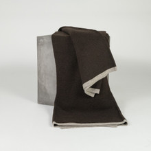 Chocolate & Platinum Ribbed Knit Yak Down Throw