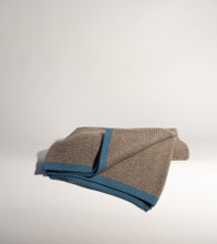 Platinum & Capri Blue Ribbed Knit Yak Down Throw