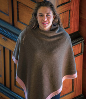 Cappuccino & Quartz Rose Rice Knit Yak Poncho with Cashmere Border