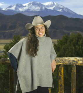 Platinum Rice Knit Cowl-Neck Poncho