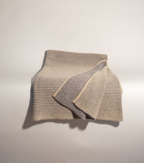 Dark Denim & Organic Brown Waffle Knit Cashmere Throw