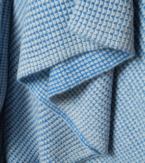 Bright blue and Light Grey Waffle Knit Cashmere Throw