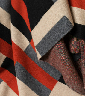 Bauhaus Rust, Black, Tan & Grey Cashmere Throw