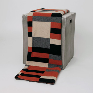 Bauhaus Rust, Black, Tan & Grey Cashmere Throw