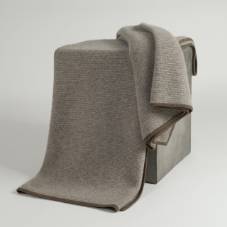 Platinum & Cappuccino Purl Knit Yak Down Throw