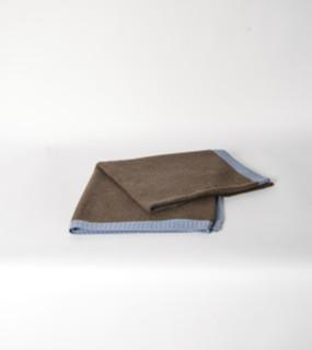 Cappuccino & Slate Blue Rice Knit Yak Poncho