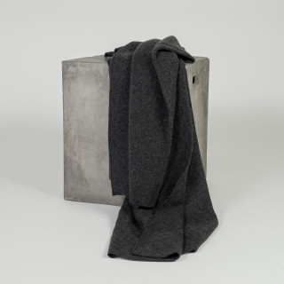 Organic Charcoal Diamond Lattice Knit Cashmere Throw