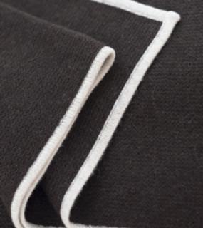 Chocolate & White Purl Knit Yak Down Throw