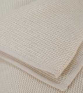 Cream Purl Knit Cashmere Throw