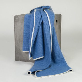 Periwinkle & Cream Knit Cashmere Throw