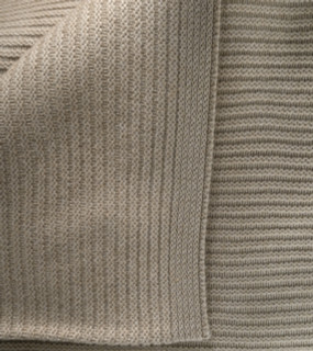 Solid Tan Ribbed Knit Cashmere Throw