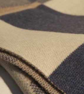 Bauhaus Blue, Tan, Beige and White Cashmere Throw