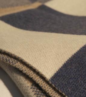Bauhaus Blue, Tan, Beige and White Cashmere Throw