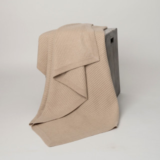 Beige  Fisherman's Knit Cashmere Throw
