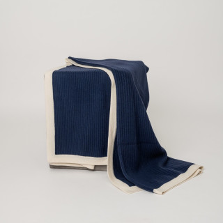 Dark Navy & Cream Fisherman's Knit Cashmere Throw