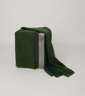Fern Green & Dark Navy Waffle Knit Cashmere Throw