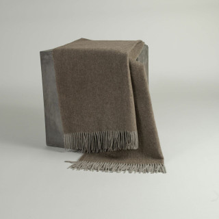 Cappuccino Herringbone Woven Yak Down Throw