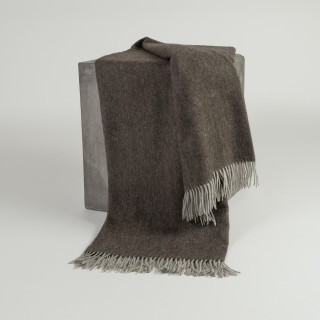 Chocolate Herringbone Woven Yak Down Throw