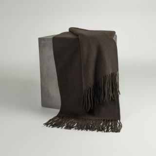 Solid Chocolate Woven Yak Down Throw