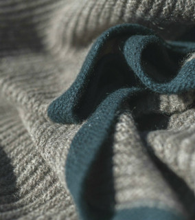 Platinum & Teal Ribbed Knit Yak Down Throw