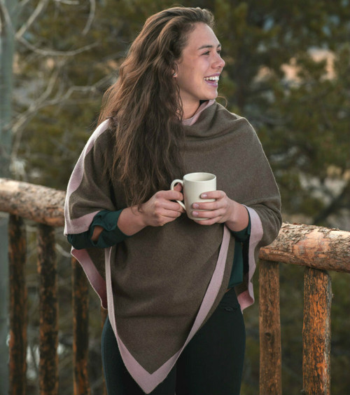 CappuccinoJersey  Knit Yak Poncho with Quartz Rose Cashmere Border