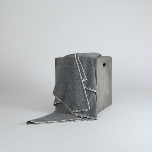 Eco Gray Bird's Eye Knit Cashmere Throw
