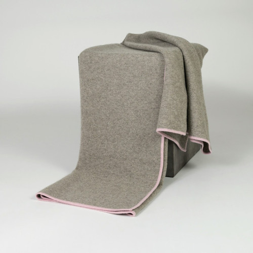Platinum/Quartz Rose Purl Knit Yak Down Throw