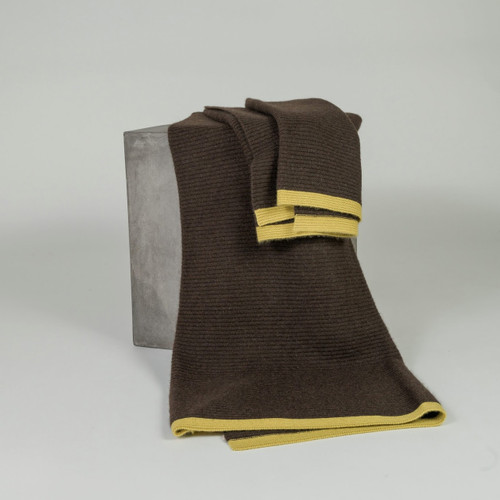 Chocolate & Chartreuse Ribbed Knit Yak Down Throw