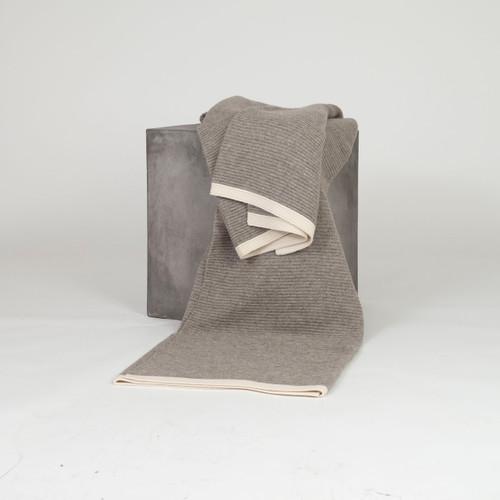 Platinum & White Ribbed Knit Yak Down Throw