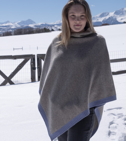 Platinum & Slate Blue Rice Knit Yak Poncho with Cashmere Border