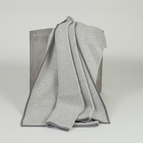 Light Gray & Stone Gray Purl Knit Cashmere Throw