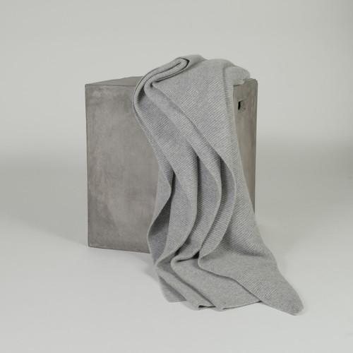 Organic Grey Purl Knit Cashmere Throw