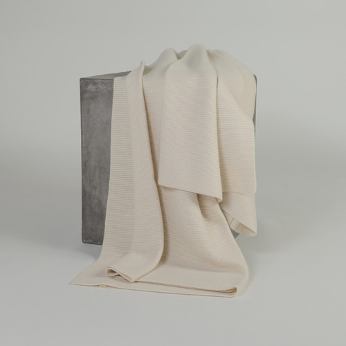 White Purl Knit Cashmere Throw