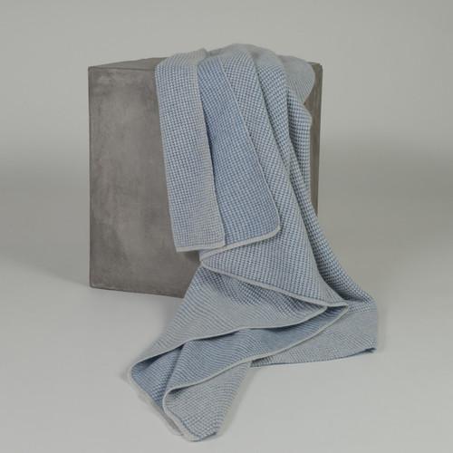 Stonewash Blue & Light Grey Waffle Knit Cashmere Throw