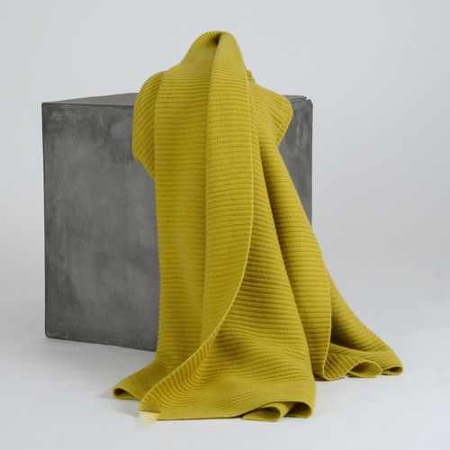 Solid Chartreuse Ribbed Knit Cashmere Throw