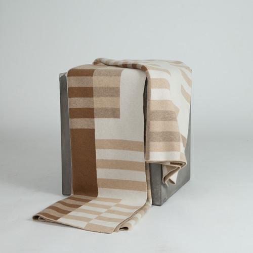 Bauhaus White, Beige, Cognac and Tan Cashmere Throw