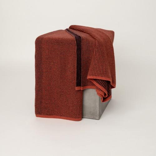 Saffron & Aubergine Waffle Knit Cashmere Throw