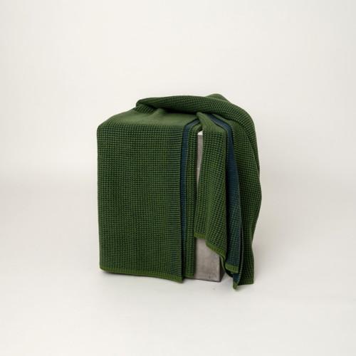 Fern Green & Dark Navy Waffle Knit Cashmere Throw