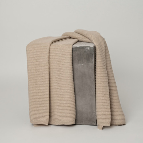 Solid Beige Ribbed Knit Cashmere Throw