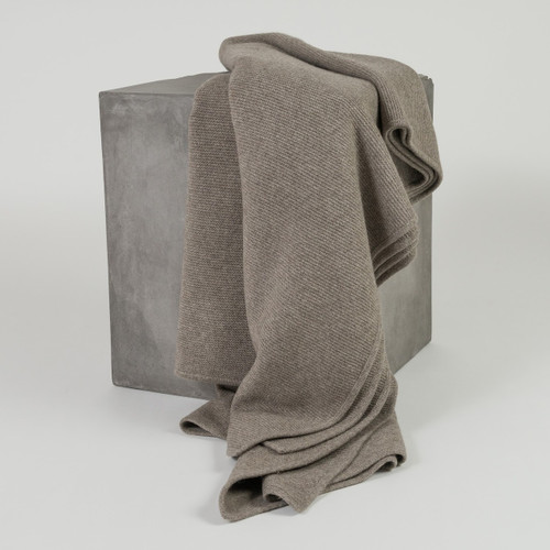 Solid Platinum Purl Knit Yak Down Throw