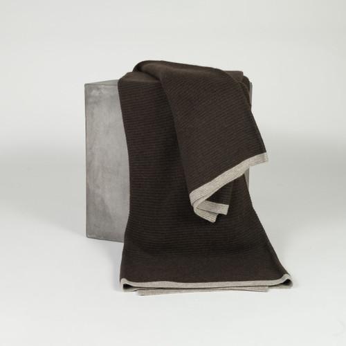 Chocolate & Platinum Ribbed Knit Yak Down Throw