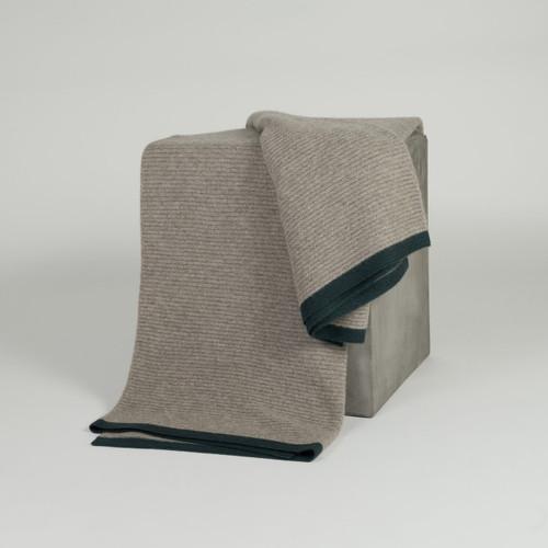Platinum & Teal Ribbed Knit Yak Down Throw