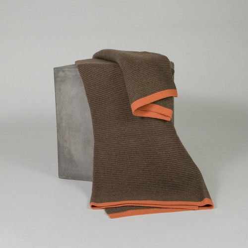 Cappuccino & Orange Pepper Ribbed Knit Yak Down Throw