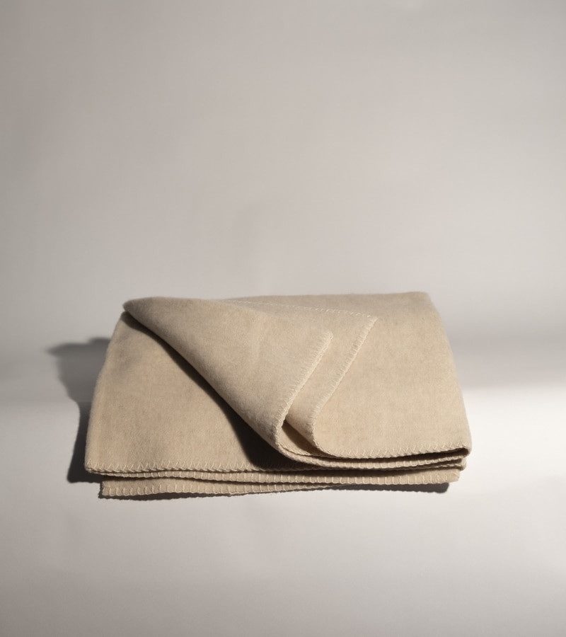 Heavy Creme Cashmere and Wool Blanket
